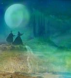 Castillo y princesa mágicos con el príncipe Imagen de archivo libre de regalías