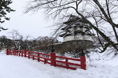 Castillo y puente de Hirosaki Fotos de archivo libres de regalías