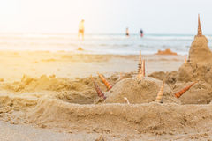 Castillos de Shell Sand en la playa Foto de archivo