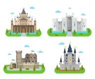 Castillos, fortalezas, fuertes y bastiones medievales en la pocilga plana Fotografía de archivo