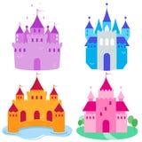 Castillos lindos del cuento de hadas fijados Foto de archivo libre de regalías