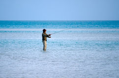 Casting for bonefish in Aitutaki Lagoon Cook Islands Stock Image