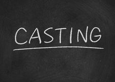 Casting. Concept word on a blackboard background stock photos