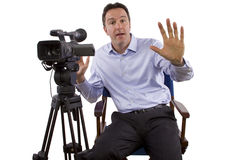 Casting Director. Sitting and recording auditions with camera stock photography