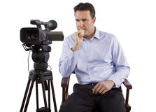 Casting Director. Sitting and recording auditions with camera stock images