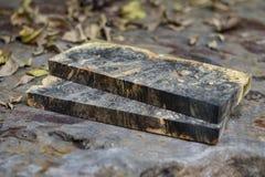 Casting epoxy resin stabilizing burl wood royalty free stock photos