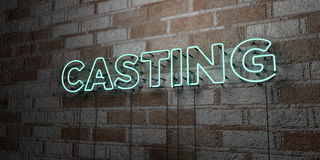 CASTING - Glowing Neon Sign on stonework wall - 3D rendered royalty free stock illustration Stock Photos