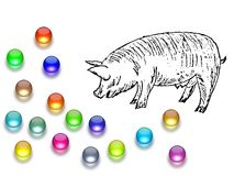 Casting pearls before swine Stock Photos