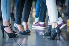 Casting. Shoes of people doing a line in a casting for a catwalk - Barcelona Royalty Free Stock Photography