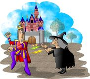 Casting a spell. This illustration that I created depicts a witch casting a spell on a prince Stock Images