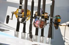 Casting and Spinner Fishing Reel Closeup Royalty Free Stock Image