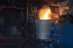 Casting in Steel Mill. Steel Mill in Action : iron casting royalty free stock photos