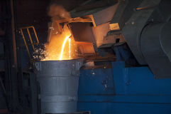Casting in Steel Mill Royalty Free Stock Images