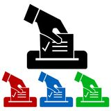 Casting a vote icon silhouette. Four color variations. Isolated on white Royalty Free Stock Photo