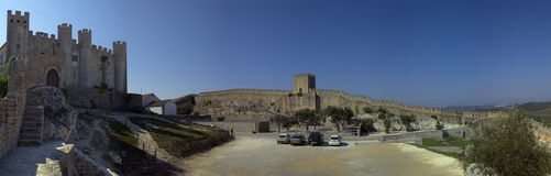 """Castle of Ã""""bidos. Panorama. Panorama of Ã""""bidos castle and part of the fortified wall. Portugal stock images"""