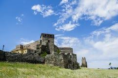 Castle και φυλακισμένος σε Θεσσαλονίκη, τον τοίχο και τον ουρανό Στοκ Εικόνα