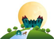 Castle και horse-drawn μεταφορά κάτω από τη πανσέληνο Στοκ Φωτογραφία