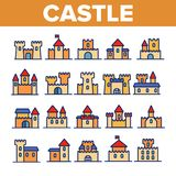 Castle, μεσαιωνικά γραμμικά διανυσματικά εικονίδια κτηρίων καθορισμένα ελεύθερη απεικόνιση δικαιώματος