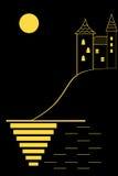 Castle σε ένα σεληνόφωτο Στοκ Εικόνα