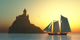 Castle στη θάλασσα Στοκ Φωτογραφίες