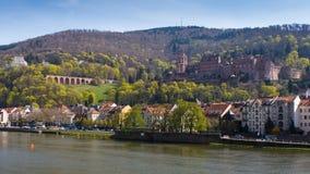 Castle της Χαϋδελβέργης και ενός ποταμού Στοκ εικόνα με δικαίωμα ελεύθερης χρήσης