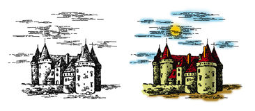 Castle 1. Graphic illustration of a castle on white and color backgrounds Royalty Free Stock Image