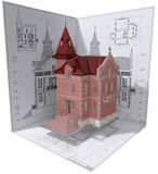Castle. 3D isometric view of residential house on architect's drawing Stock Image