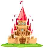 Castle. Illustration of isolated pink castle on white background royalty free illustration