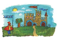 Castle. Illustration for children. A Castle and the guardian with sails Stock Photo