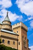 Castle. Middle Ages castle surrounded with green and deep blue sky stock photos