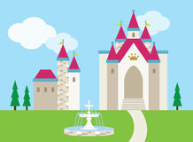 Castle. Illustration of a castle with a fountain on the front lawn Royalty Free Stock Photo