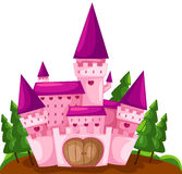 Castle. Illustration of isolated pink castle on white background vector illustration