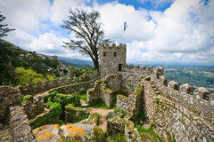 Castle. Famous Mouros Castle in Sintra, Lisbon, Portugal Royalty Free Stock Photography