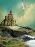 Castle. In a fantasy landscape vector illustration