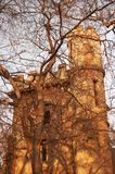 Castle. Romanian castle standing behind a bare tree.  Taken in Romanescu Park, Craiova, Romania Royalty Free Stock Photo
