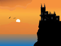 Castle. On the cliff by the sea. Vector illustration Royalty Free Stock Photos