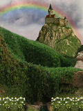 Castle. In the cliff with rainbow Royalty Free Stock Photos