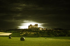 Castle 2. The Torrechiara's Castle (Italy) in the sunset stock photography