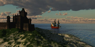 Castle. A beautiful galleon sails by an imposing castle on the shore of a new country Stock Photos