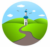 Castle. Illustration representing a isolated castle tower somewhere on a greenfield Stock Photo