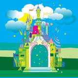 Castle. Hand drawn illustration of a fairytale castle on a green meadow under a blue cloudy sky of a starry night Royalty Free Stock Images