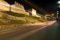 Castle. THESSALONIKI, GREECE - DECEMBER, 20: Thessaloniki Castle and lights by night on December 20, 2007, Thessaloniki, Greece Royalty Free Stock Images