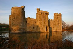 Castle. Southern facing view of Bodiam Castle in Sussex, UK including the moat Royalty Free Stock Photos