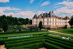 Castle. Photo of castle and garden taken in france on suny day stock image