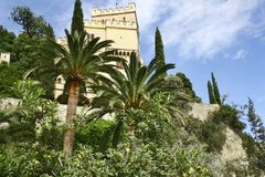 Castle. A view on the castle at the coast of final Ligure, to the palm Riviera, of the via Belvedere, Italy stock image