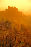 Castle. Of Torrechiara at the sunsrise with fog royalty free stock images