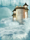 Castle. Tower of castle in the sky Royalty Free Stock Images