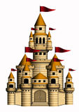 Castle. A castle isolated in white background stock illustration