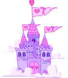 Castle. Vector Illustration of a Fairy Tale Princess Castle in the sky Royalty Free Stock Photography