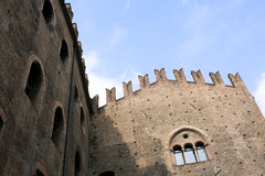Castle. With crenellated walls and sky blue Royalty Free Stock Photography